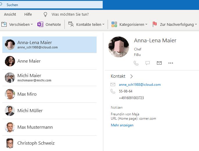Übertragen Kontakte in Outlook