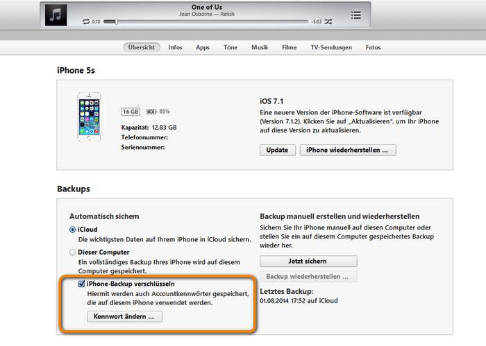 iTunes Backups verschlüsseln erstellen