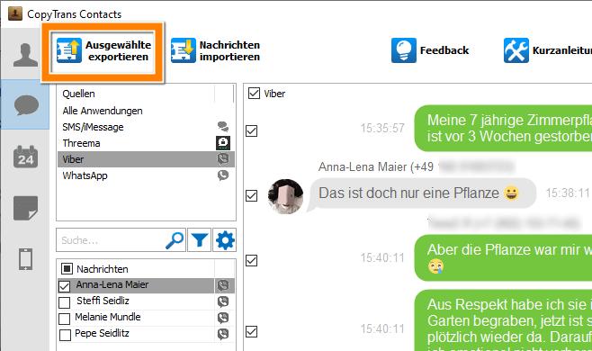 Viber Chat exportieren und auf PC sichern