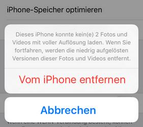 Fotos nicht in iCloud speichern