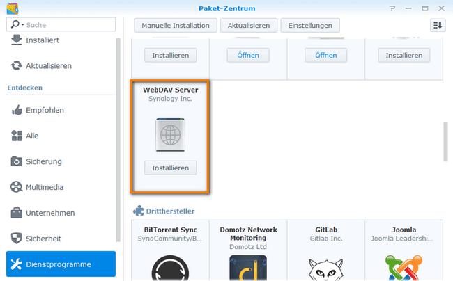 Dienstprogrammen-WebDAV-Server installieren