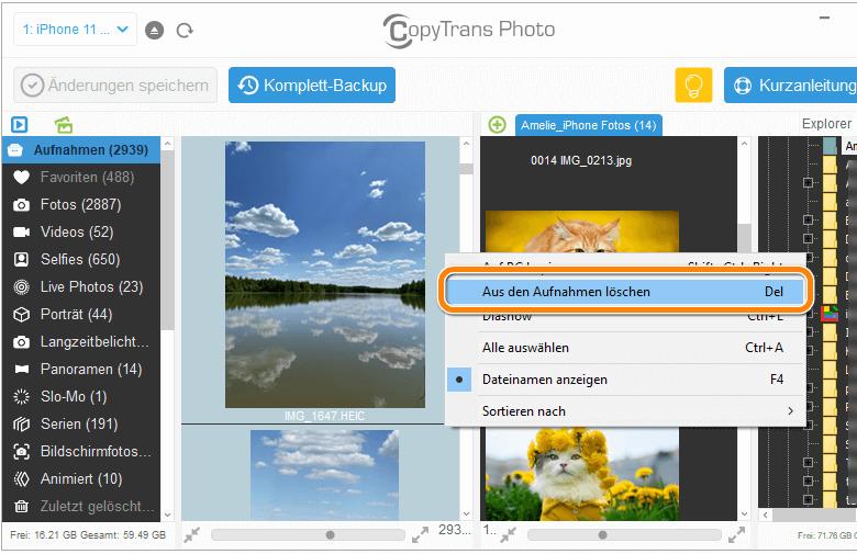 Alle iPhone Fotos löschen auf PC