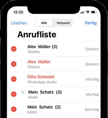 Anrufliste iPhone anzeigen und löschen