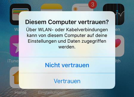 Diesem Computer vertrauen Meldung