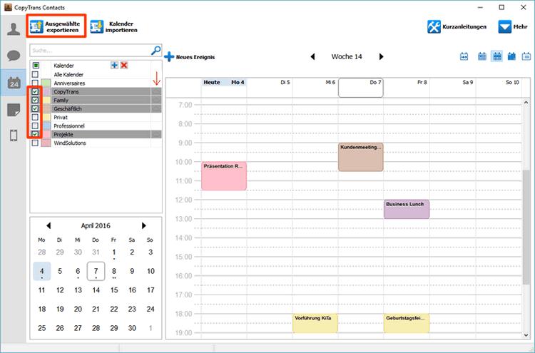 iCloud Kalender ins Programm übertragen