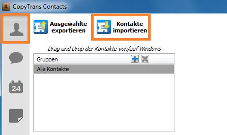 Kontakte in CopyTrans Contscts importieren