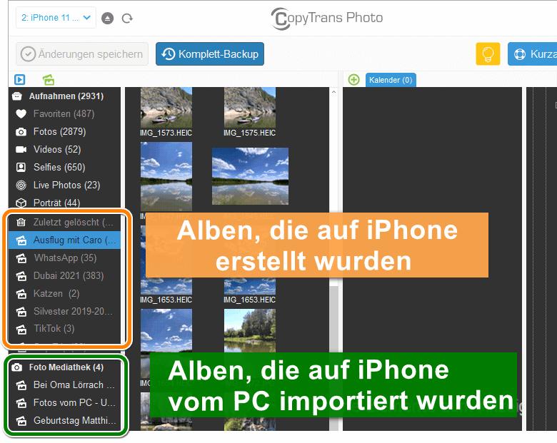 iPhone Fotoalbum löschen vom PC