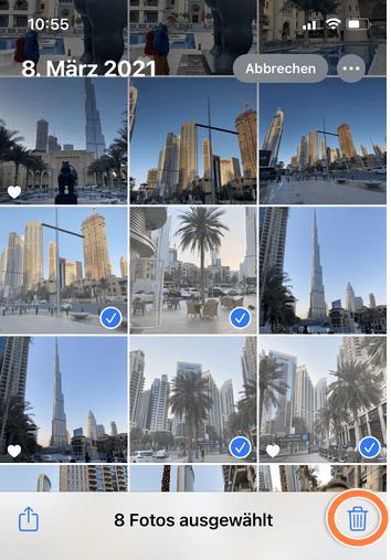 wie kann ich Fotos vom iPhone löschen