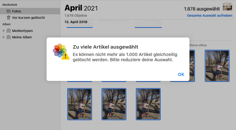 iCloud alle Bilder löschen mit einem Klick