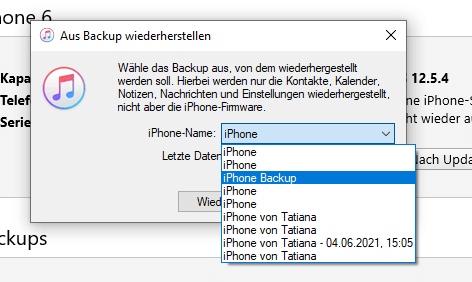 iTunes Backup verlorene Kontakte wiederherstellen
