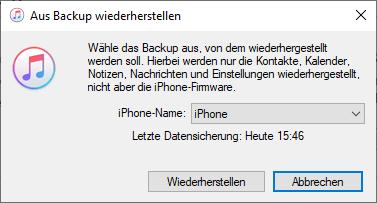 iTunes Backup aktuelle Daten wiederherstellen