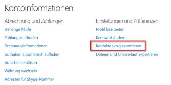 Von der Skype-Seite Kontakte exportieren