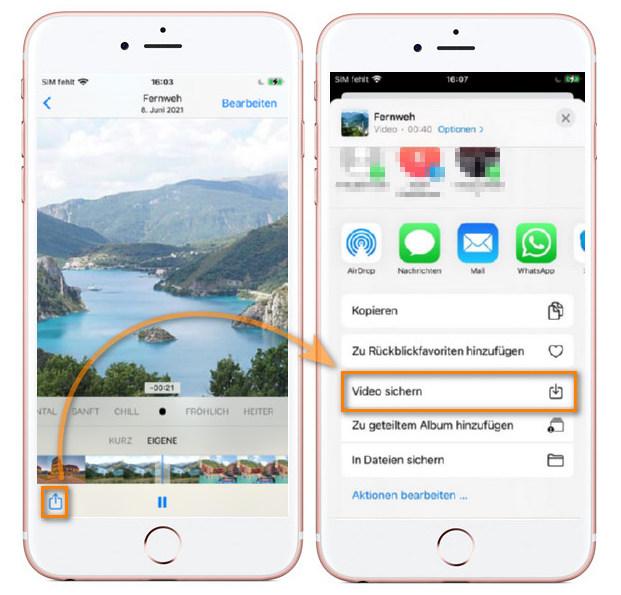 Diashow auf iPhone speichern