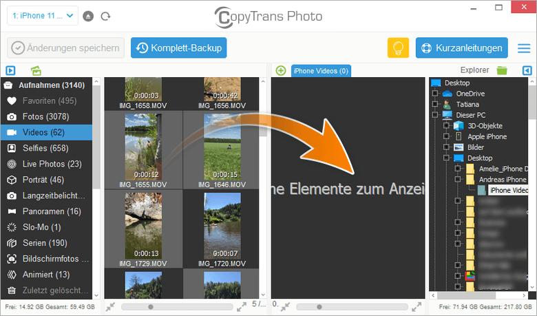 Videos von iPhone auf PC mit Dag und Drop kopieren