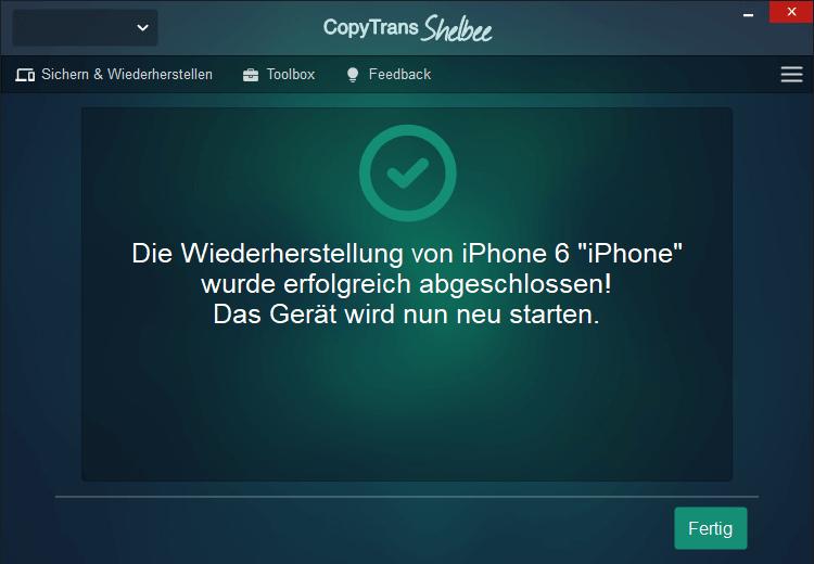 iPhone Kontakte aus Backup wiederhergestellt