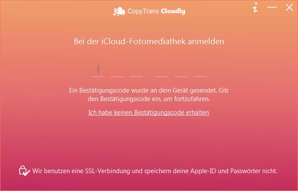 Zwei-Faktor-Authentifizierung in CopyTrans Cloudly