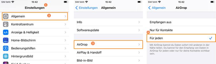 AirDrop - Funktion aktivieren