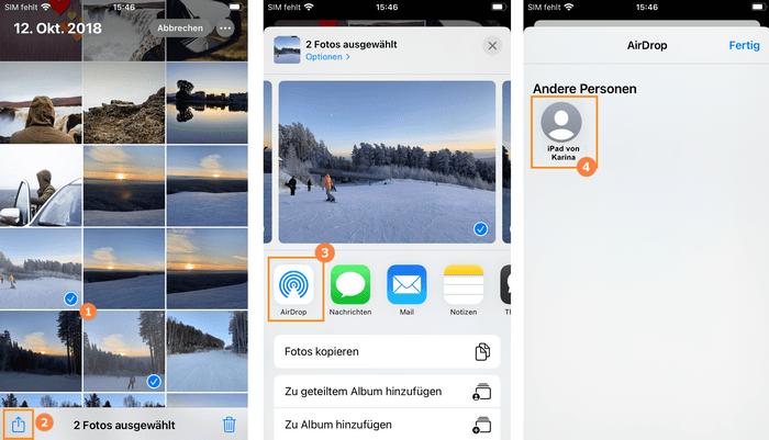 Bilder vom iPhone auf iPad mit AirDrop