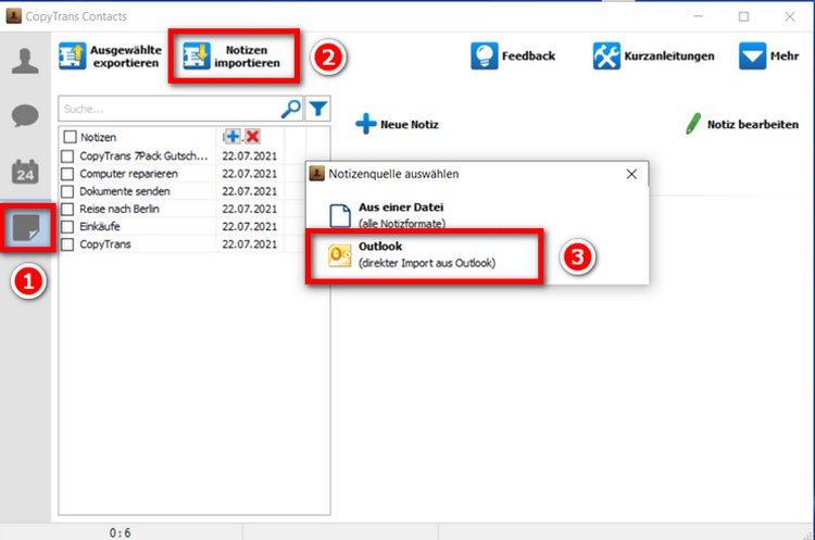 Notizen aus Outlook importieren