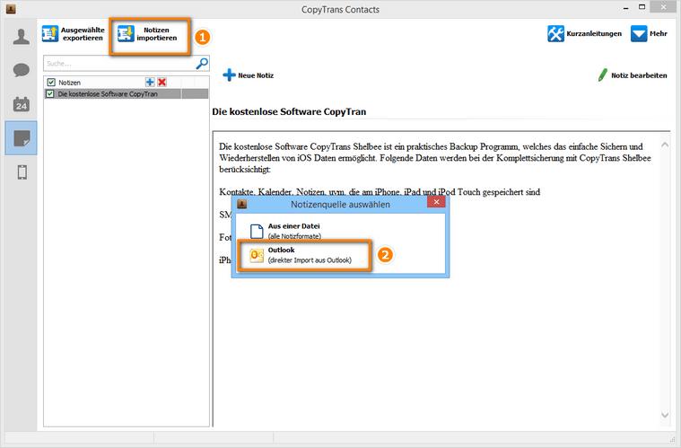 Notizen aus Outlook auf iPhone importieren