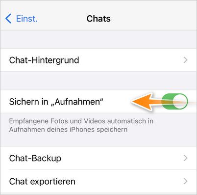 WhatsApp Bilder nicht speichern Einstellung