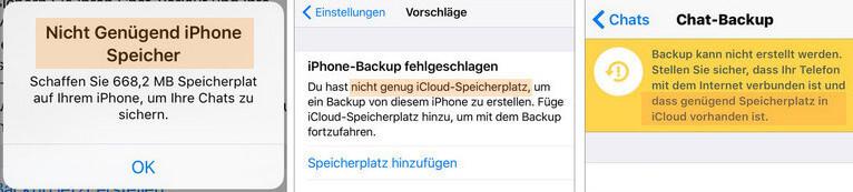 iPhone Meldungen WhatsApp Speicher voll
