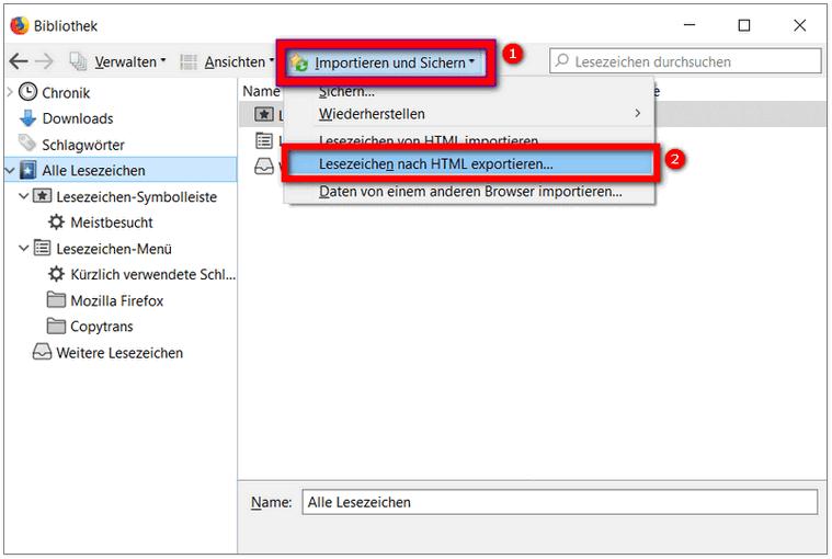 Lesezeichen Firefox exportieren