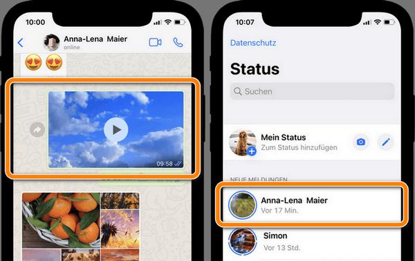 WhatsApp Videos speichern als auch Status Video
