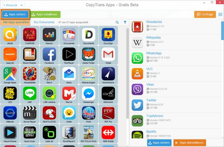 Apps von einem Handy aufs Andere übertragen