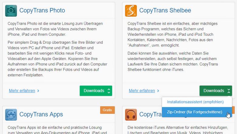CopyTrans Shelbee als ZIP-Datei laden