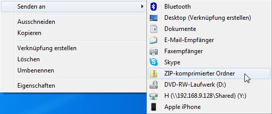 zip Datei erstellen