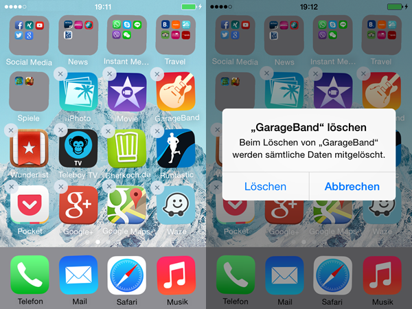 iPhone Apps deinstallieren