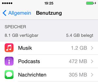 iPhone Speicherplatz freigeben