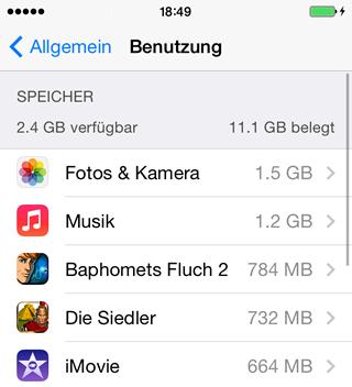 iPhone Speicherplatz voll