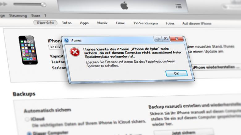 iTunes Backup fehlgeschlagen