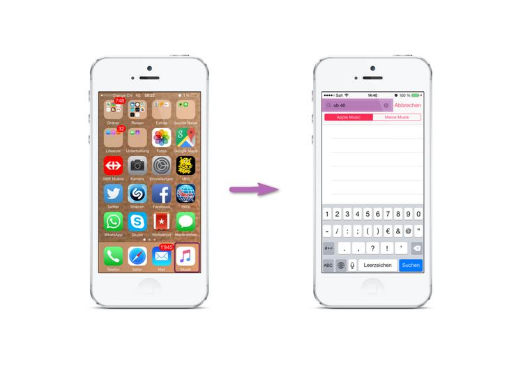 Music App am iPhone öffnen