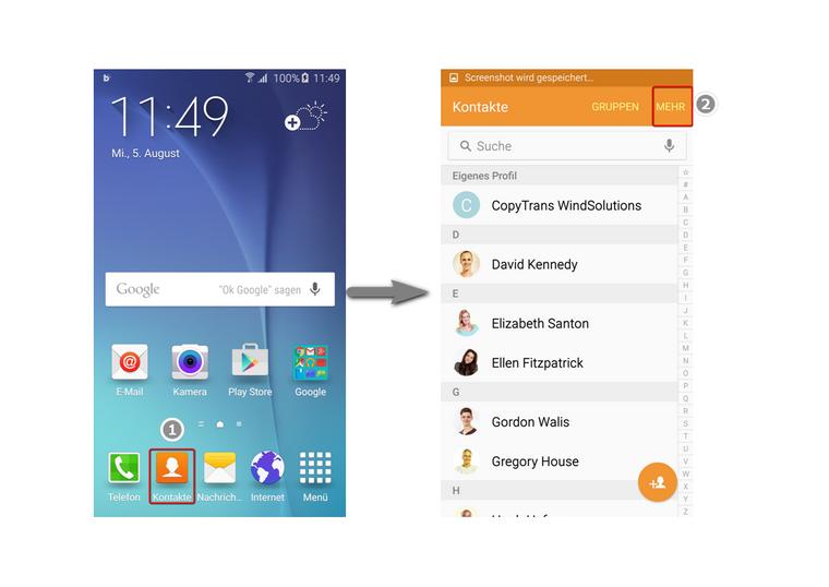 Kontakte am Android öffnen