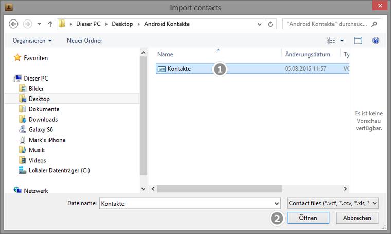 VCard Datei vom PC zum iPhone übertragen