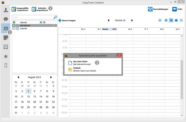 Kalender aus einer datei am PC auswählen