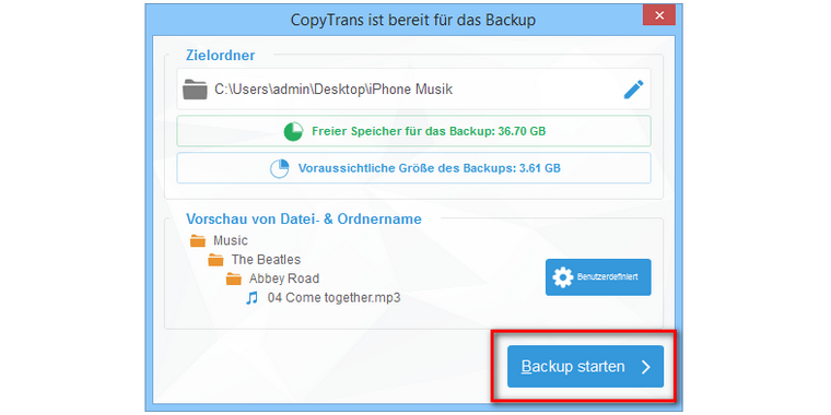 Musik Backup am PC