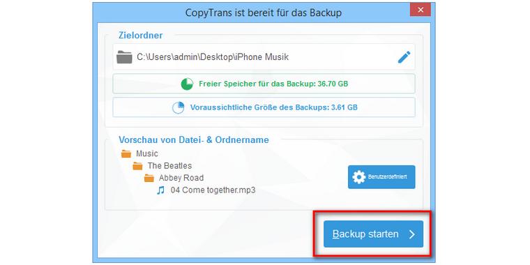 Musik Backup am PC