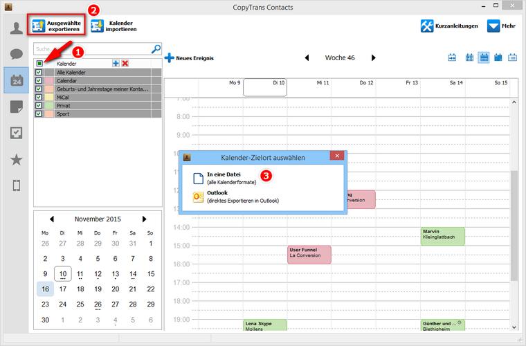 iPhone Kalender in eine Datei speichern