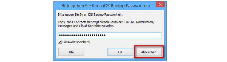 iPhone Backup passwort für CopyTrans Contacts