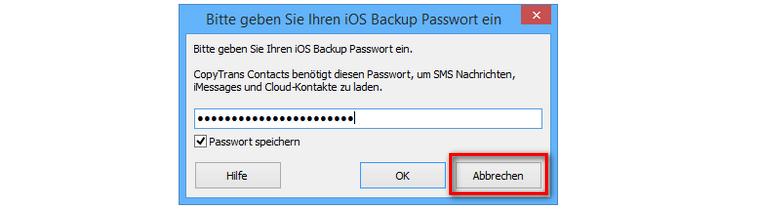 iPhone Backup passwort für CopyTrans Contacts