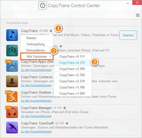 auf alte Version des CopyTrans Programm downgradens