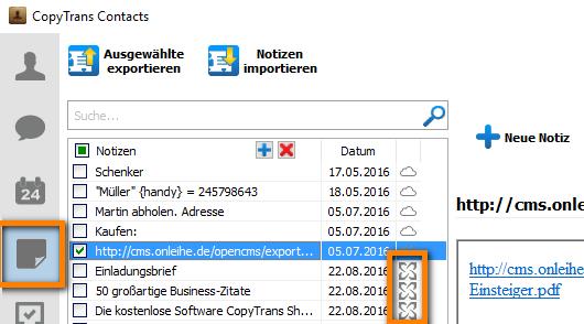 Exchange-Notizen mit CopyTrans Contacts sichern