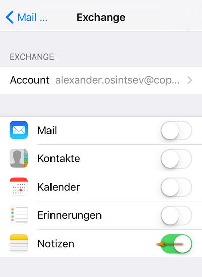 Exchange-konto auf dem iPhone deaktivieren