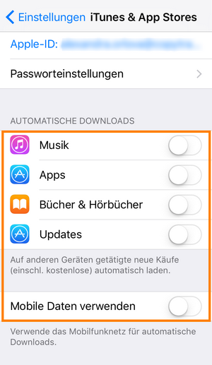 Automatische Downloads am iPhone deaktivieren