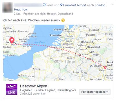 Vor der Reise auf Facebook posten