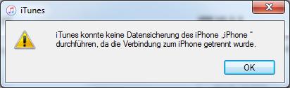 Mit iTunes 10.3.3 ist das Backup in iTunes nicht möglich mit der Fehlermeldung